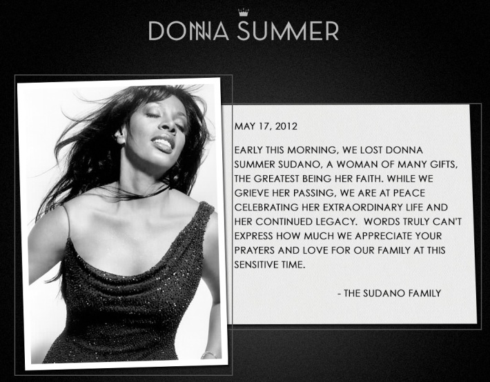 Message From Donna Summer's Family
