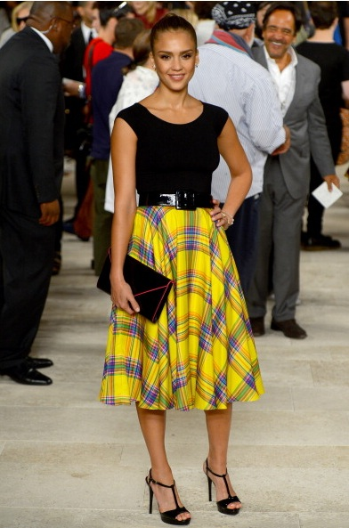 Jessica Alba attends Ralph Lauren Spring 2013 Collection (Photo by FrazerHarrison/GettyImages)