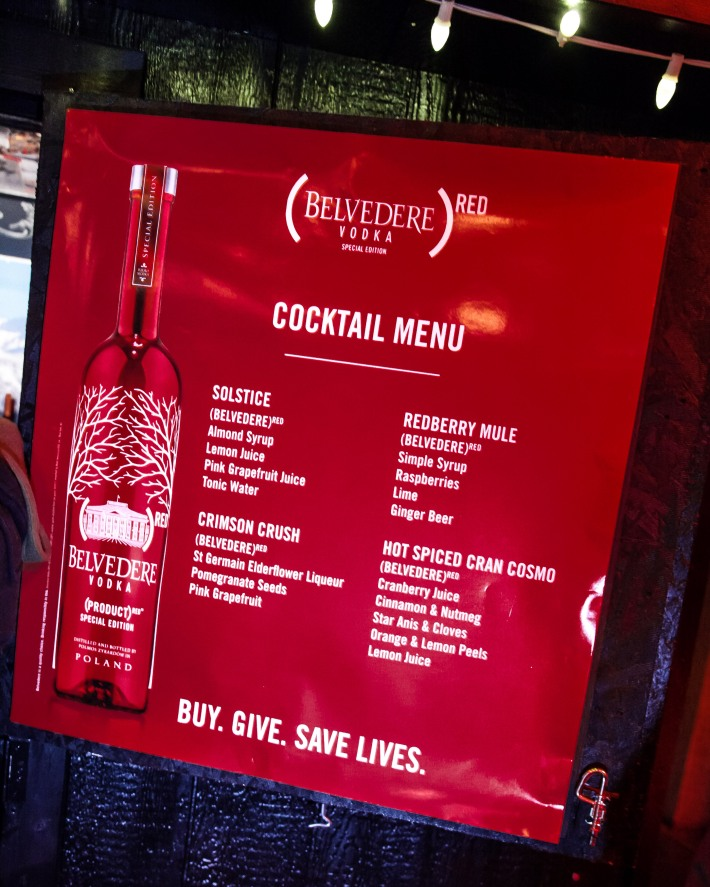 Cocktail Menu at (BELVEDERE)RED World AIDS Day event