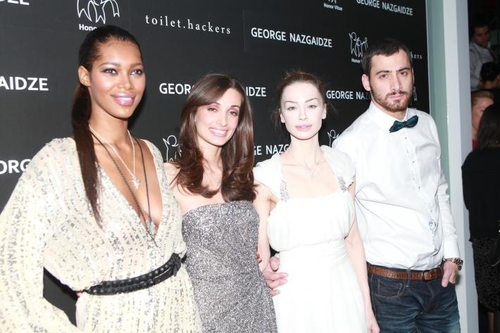 Jessica White, Mariam Kinkladze, Ani Amiridze and George Nazgaidze attend Charity Meets Fashion