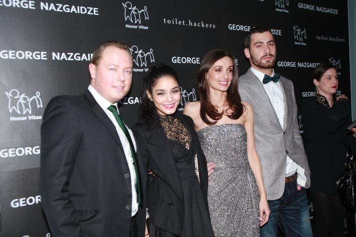 John Kluge, Vanessa Hudgens, Mariam Kinkiadze and George Nazgaidze attend Charity Meets Fashion
