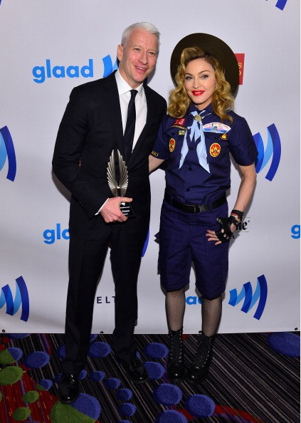 Anderson Cooper and Madonna at the 24th Annual GLAAD Media Awards