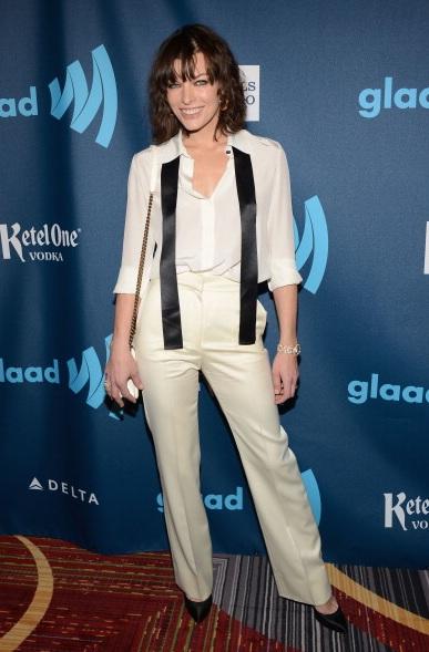 Actress Milla Jovovich at The 24th Annual GLAAD Media Awards