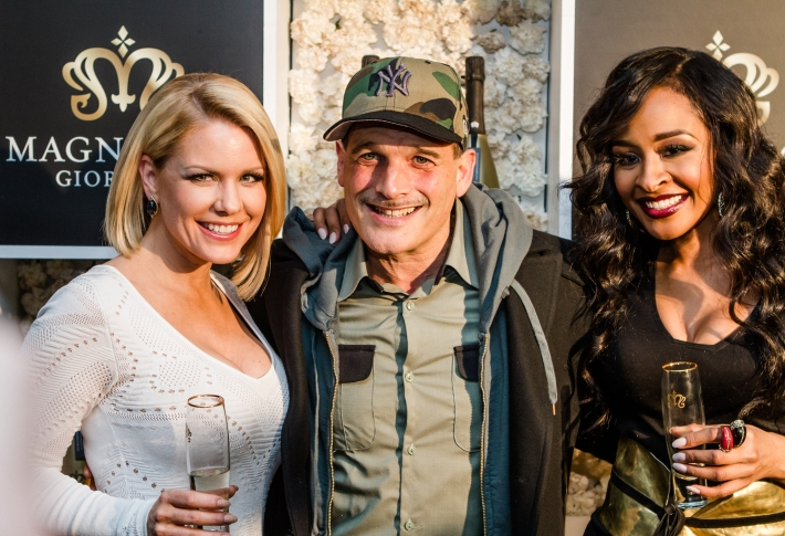 Carrie Keagan, Philip Block & Janell Snowden at Magnifico Giornata Infused Essence Collection Launch (Photo by Patrick MacLeod)