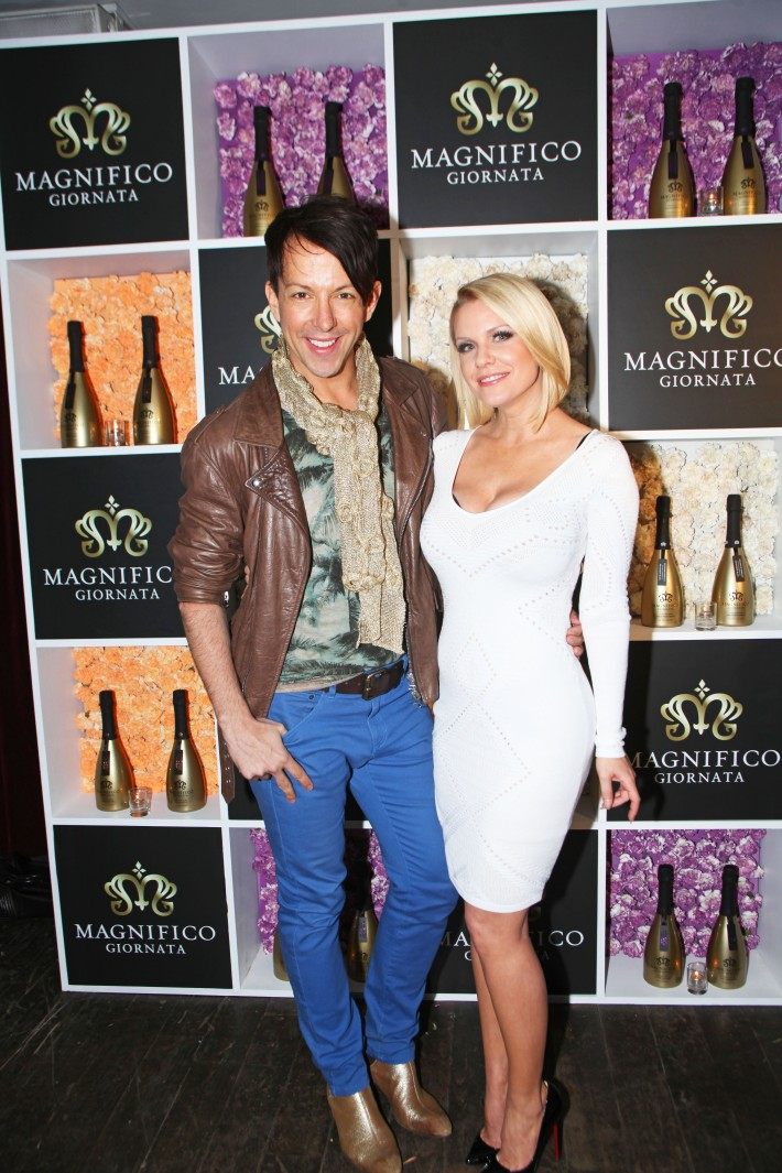 Derek Warburton and Carrie Keagan at Magnifico Giornata Infused Essence Collection Launch (Photo by Yoni Levy)
