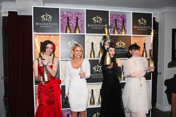 Carrie Keagan & Burlesque performers at Magnifico Giornata Infused Essence Collection Launch Party (Photo by Yoni Levy)
