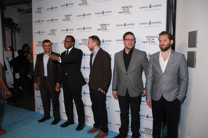 Shekar Bassi, Cadi Catlow, writer Geoffrey Fletcher, Paul Frankel, Alexis Barroso Gasco, and James Griffiths  at The Bombay Sapphire Imagination Series: Film World Premiere (Photo by Yoni Levy)