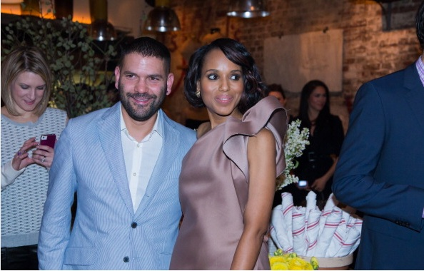 Guillermo Diaz and Kerry Washington at ELLE & Tod's Celebrate Kerry Washington Party Photo by AnnaWebber