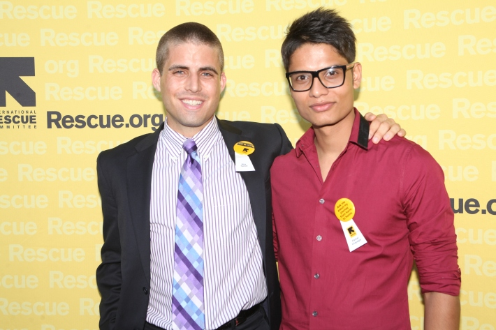 Alex Sweet and Parbat Chapagai at the International Rescue Committee's Third Annual GenR Summer Party (Photo by Yoni Levy)