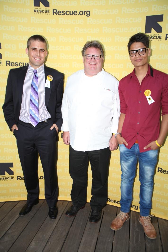 Alex Sweet, Chef David Burke & Parbat Chapagai at the International Rescue Committee's Third Annual GenR Summer Party (Photo by Yoni Levy)