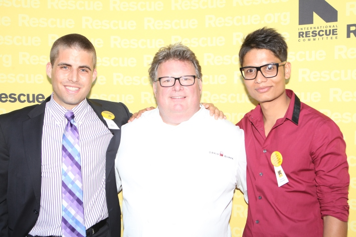 Alex Sweet, Chef David Burke and Parbat Chapagai at the International Rescue Committee's Third Annual GenR Summer Party (Photo by Yoni Levy)