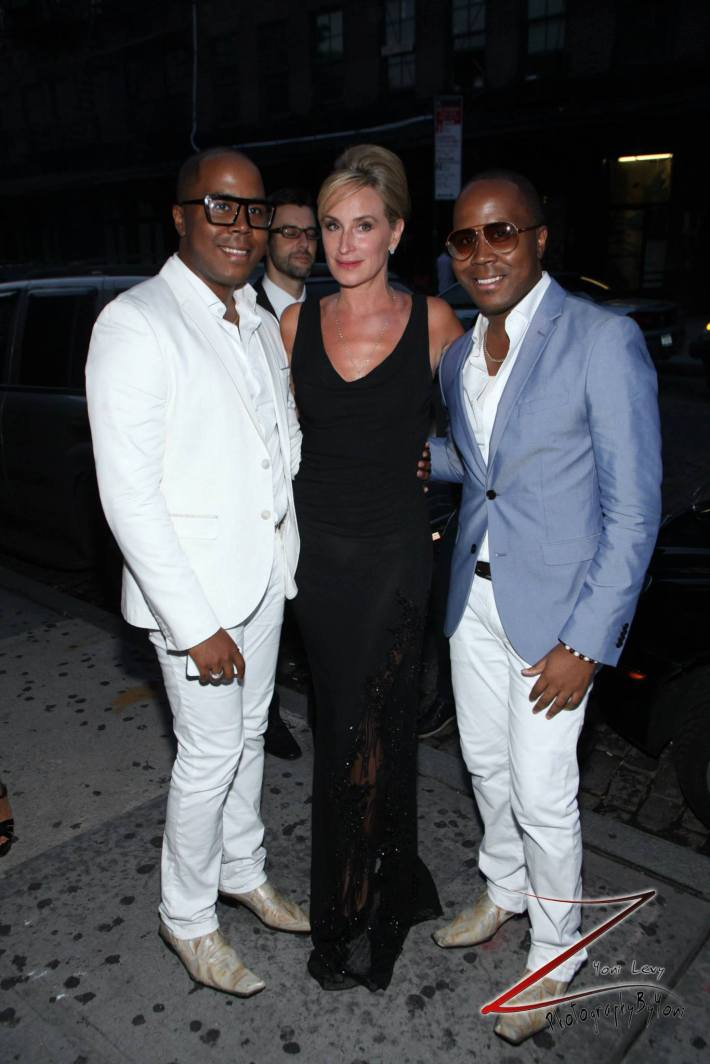 """Sonja Morgan and The Von Boozier Twins at """"Inspired In New York"""" event (Photo by Yoni Levy)"""