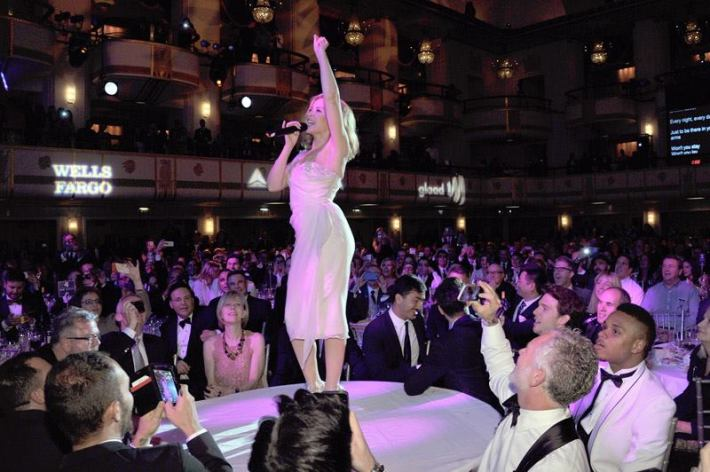 Kylie Minogue performs at the 25th Annual GLAAD Media Awards in New York City (Photo by StephenLovekin)