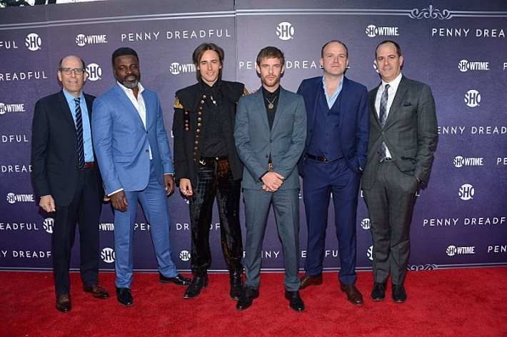 Chairman and CEO, Showtime Networks Inc., Matthew C. Blank; Danny Sapani, Reeve Carney, Harry Treadaway, Rory Kinnear and President of Showtime Networks Inc., David Nevins attend the premiere screening of the Showtime original series PENNY DREADFUL  (Photo by MichaelLoccisano)