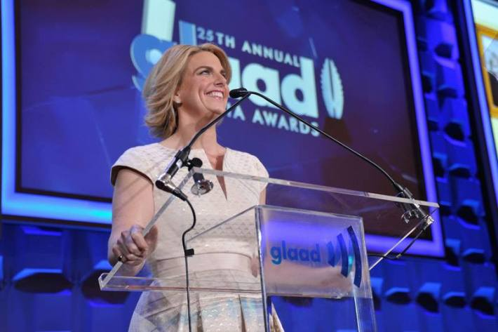 GLAAD CEO & President Sarah Kate Ellis speaks at the 25th Annual GLAAD Media Awards in New York City (Photo by StephenLovekin)