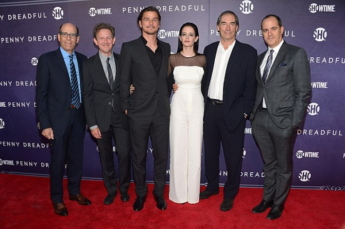 Chairman and CEO, Showtime Networks Inc., Matthew C. Blank, executive producer John Logan, actors Josh Hartnett, Eva Green, Timothy Dalton and President of Showtime Networks Inc., David Nevins attend the premiere screening of the Showtime original series PENNY DREADFUL  (Photo by MichaelLoccisano)