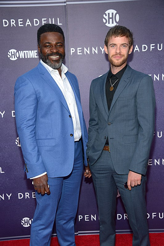 Danny Sapani and Harry Treadaway attend the premiere screening of the Showtime original series PENNY DREADFUL  (Photo by MichaelLoccisano)