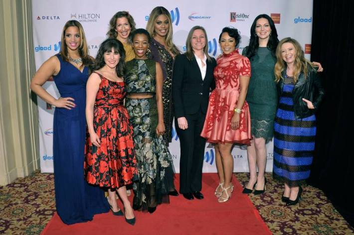 L-R) Dascha Polanco, Yael Stone, Alysia Reiner, Samira Wiley, Laverne Cox, Selenis Leyva, Laura Prepon and Natasha Lyonne attend the 25th Annual GLAAD Media Awards in New York City (Photo by StephenLovekin)