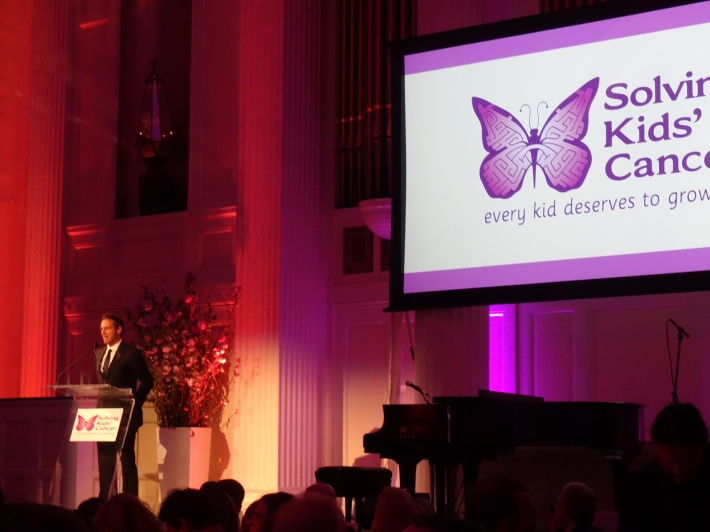 Actor Josh Lucas speaking at the fifth annual Solving Kids' Cancer Spring Celebration at 583 Park Avenue