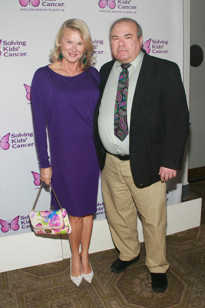 Lady Liliana Cavendish and Hunt Slonem attend the fifth annual Solving Kids' Cancer Spring Celebration at 583 Park Avenue