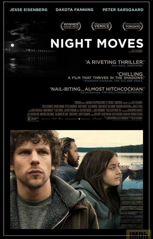Night Moves film poster starring Jesse Eisenberg, Dakota Fanning and Peter Sarsgaard.
