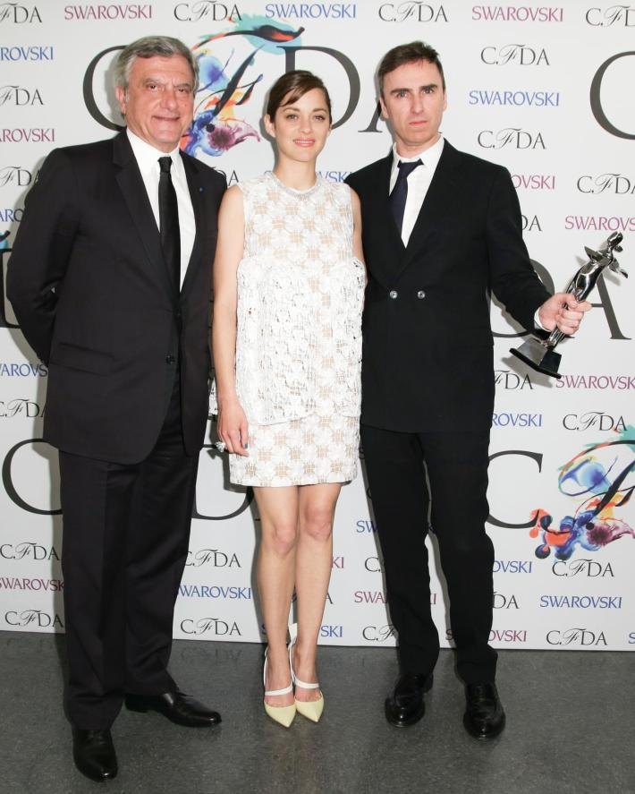 Sidney Toledano, Marion Cotillard, Raf Simons attend 2014 CFDA Fashion at Alice Tully Hall, Lincoln Center
