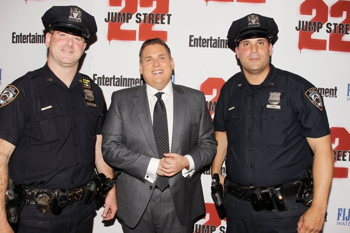 Actor Jonah Hill attends the New York screening of '22 Jump Street' hosted by FIJI Water at AMC Lincoln Square Theater