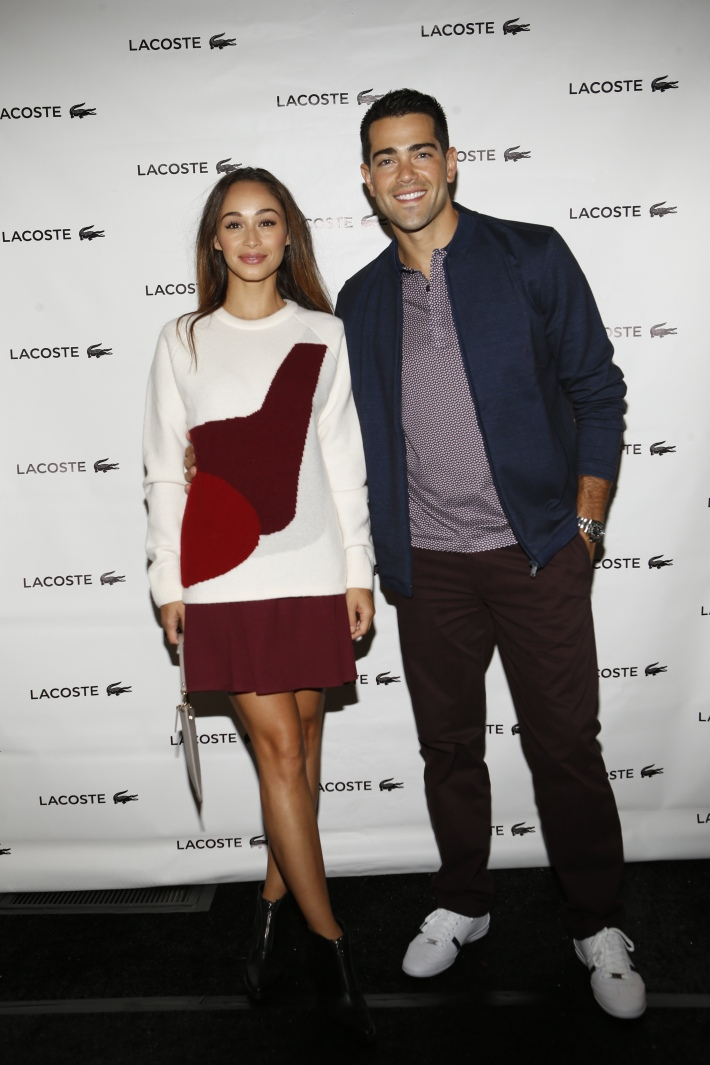 Jesse Metcalfe, Cara Santana backstage at the Lacoste fashion show during Mercedes-Benz Fashion Week Spring 2015 (Photo by Yannis Vlamos)