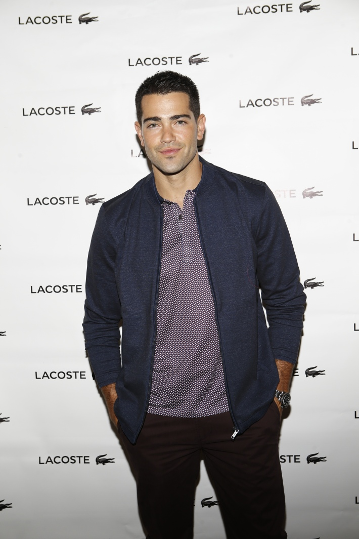 Jesse Metcalfe backstage at the Lacoste fashion show during Mercedes-Benz Fashion Week Spring 2015 (Photo by Yannis Vlamos)