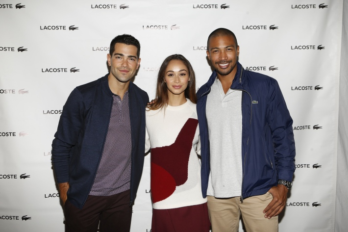 Jesse Metcalfe, Cara Santana,Charles Michael Davis backstage at the Lacoste fashion show during Mercedes-Benz Fashion Week Spring 2015  (Photo by Yannis Vlamos)