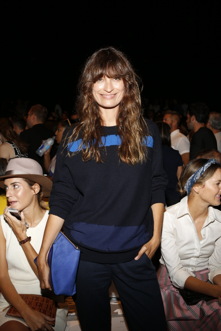 Caroline de Maigret backstage at the Lacoste fashion show during Mercedes-Benz Fashion Week Spring 2015 (Photo by Yannis Vlamos)