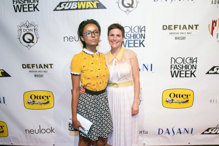 Actress Kat Graham (L) and fashion designer Katty Xiomara attend the Katty Xiomara Runway Show at the Nolcha Fashion Week