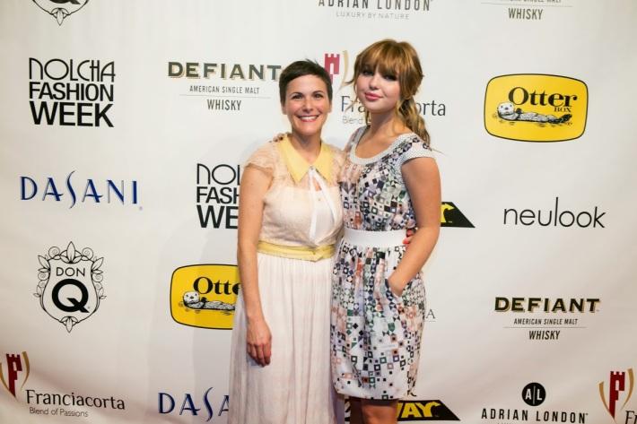 Fashion designer Katty Xiomara (L) and actress Sammi Hanratty attend the Nolcha Fashion Week New York
