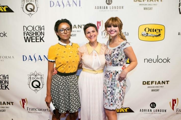 Actress Kat Graham, fashion designer Katty Xiomara, and actress Sammi Hanratty attend the Katty Xiomara Runway Show at the Nolcha Fashion Week