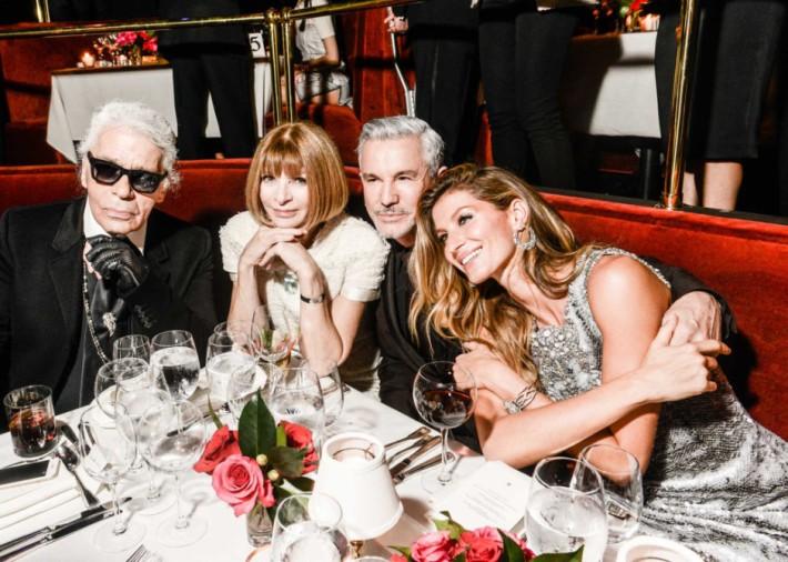 Karl Lagerfeld, Anna Wintour, Baz Luhrmann, and Gisele Bündchen at CHANEL Dinner Celebrating N°5 THE FILM By Baz Luhrmann