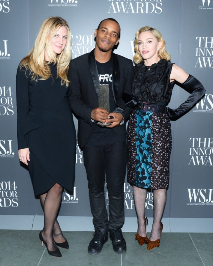 Kristina O'Neil, Charles 'Lil Buck' Riley and Madonna attend WSJ. Magazine's 'Innovator Of The Year' Awards at Museum of Modern Art