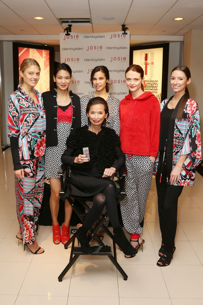 Josie Natori with models at the new fragrance launch of JOSIE by Josie Natori at Bloomingdale's (Photo by  J.Grassi)
