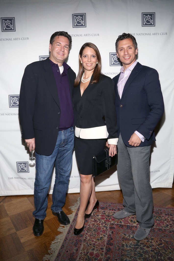 Michael Travin, Nicole DiCocco, David Noto attend The National Arts Club opening of Emilia and Ilya Kabakov's 'A Model Point of View' (Photo by Michael Plunkett)