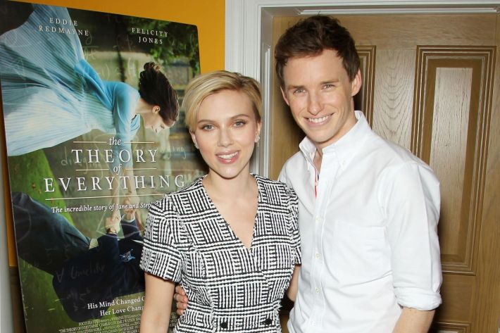 "Scarlett Johansson and Eddie Redmayne at the  screening of ""The Theory of Everything"""