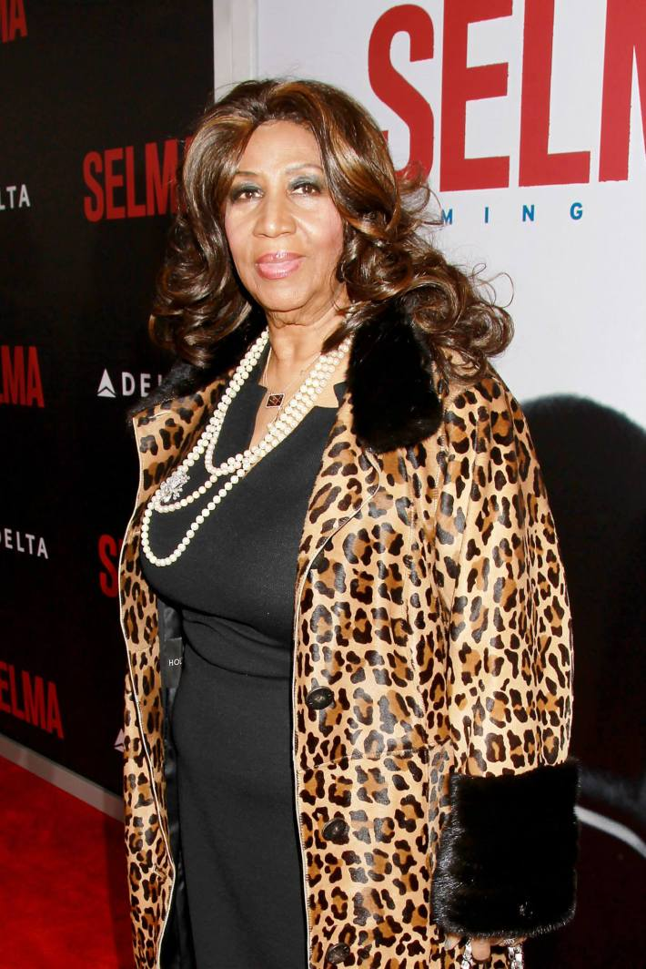 Singer Aretha Franklin attends the 'Selma' New York Premiere at the Ziegfeld Theater
