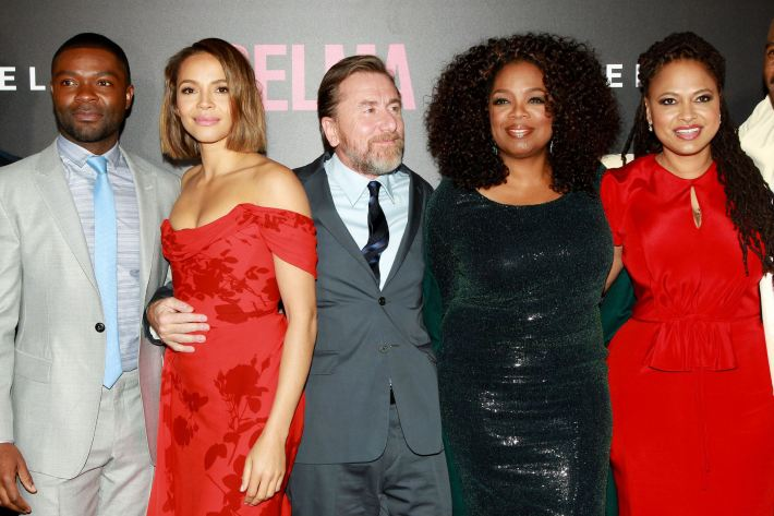 Actors Carmen Ejogo, Tim Roth and Oprah Winfrey attend the 'Selma' New York Premiere at the Ziegfeld Theater