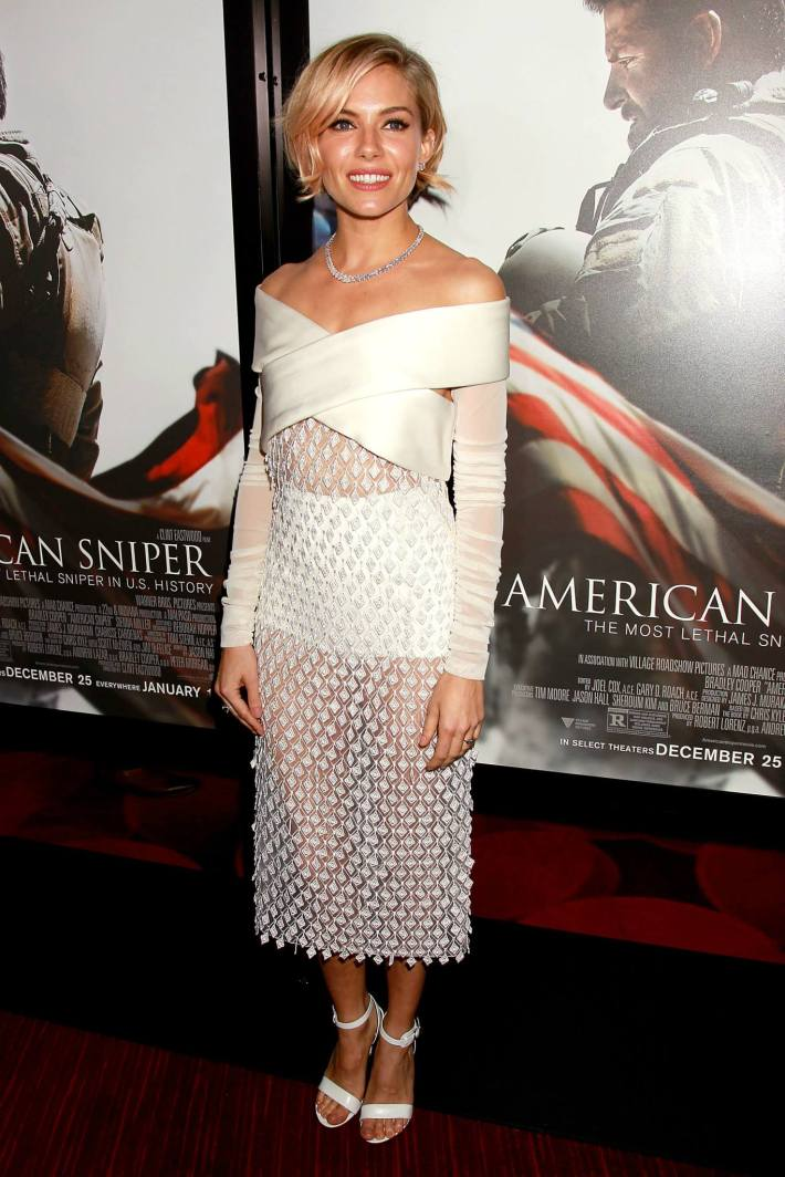 Actress Sienna Miller attends the 'American Sniper' New York Premiere at Frederick P. Rose Hall, Jazz at Lincoln Center