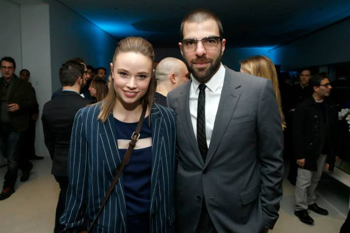 Makenzie Leigh and Zachary Quinto at the Vanity Fair premiere party for The Slap  at The New Museum
