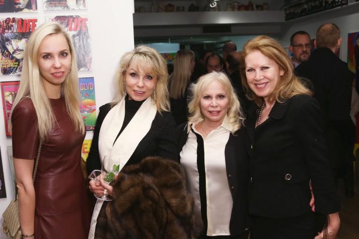 Ksenia Mezentseva, Elena Volgin, Liz Derringer, Elga Wimmer at the Peter Max Paints Frank Sinatra: An American Icon reception (Photo by  J Grassi)