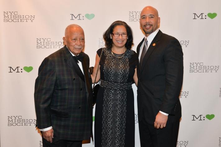 "Former Mayor David Dinkins, Elsie McCabe Thompson, Bronx Borough President Ruben Diaz, Jr. attend NYC Mission Society ""Champions for Children"" Gala (Photo by Annie Watt)"