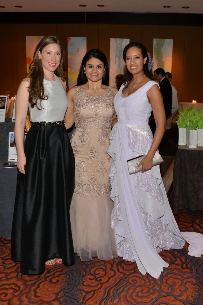 "Taylor Burns, Natasha Das, Allison Ecung  attend NYC Mission Society ""Champions for Children"" Gala (Photo by Annie Watt)"