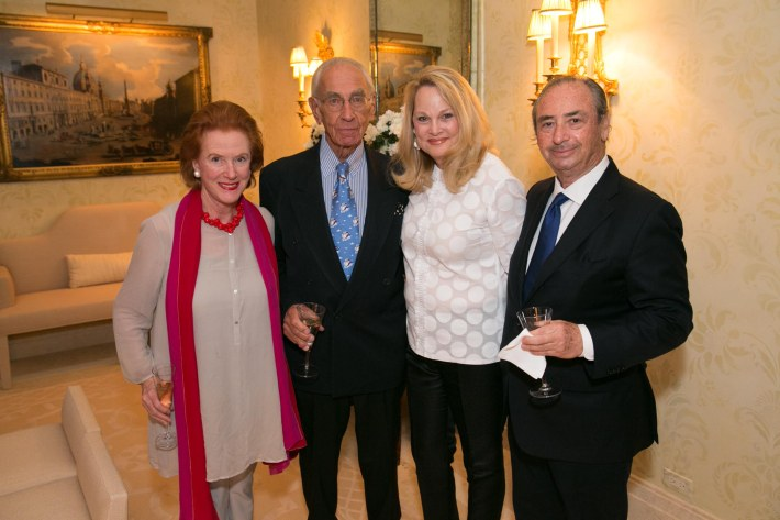 Edwina Sandys, Richard Kaplan, Nancy Schaffel, William Schaffel  attend Palm Beach doctors and donors dinner for Hope for Depression Research Foundation (Photo by Doug McGlothlin)