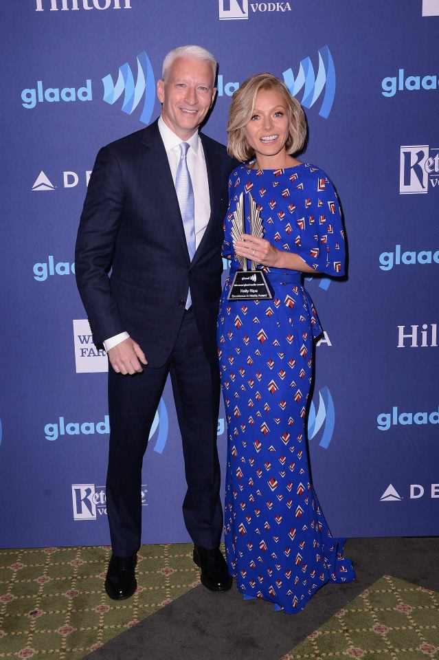 Anderson Cooper and Kelly Ripa attend the 26th Annual GLAAD Media Awards In New York