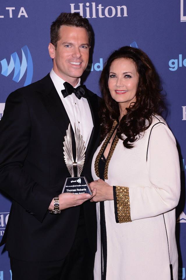 Thomas Roberts and Lynda Carter pose with his award during the 26th Annual GLAAD Media Awards In New York