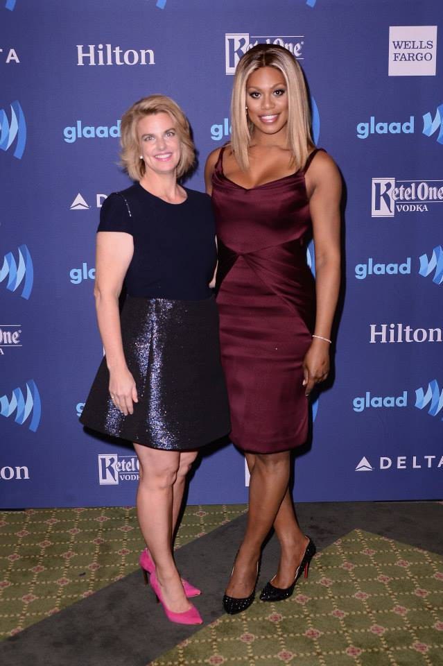 GLAAD CEO and president Sarah Kate Ellis and Laverne Cox attend the 26th Annual GLAAD Media Awards In New York
